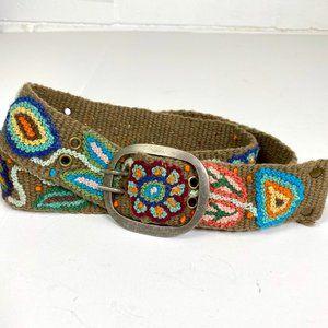 Pistil 100% Hand Made Floral Tapestry Belt Sz L